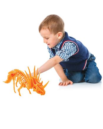 بازی فکری جورچین سهبعدی دایناسور نارنجی(Styracosaurus)